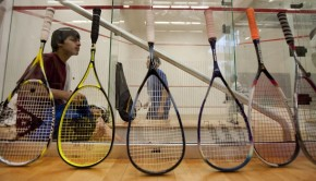 05-10-10 Laura Skelding AMERICAN-STATEMSAN   The Life Time Fitness squash courts stay busy in south Austin on Monday evening. People line their racquets up to signify the order of play. For a story about the squash scene in Austin.